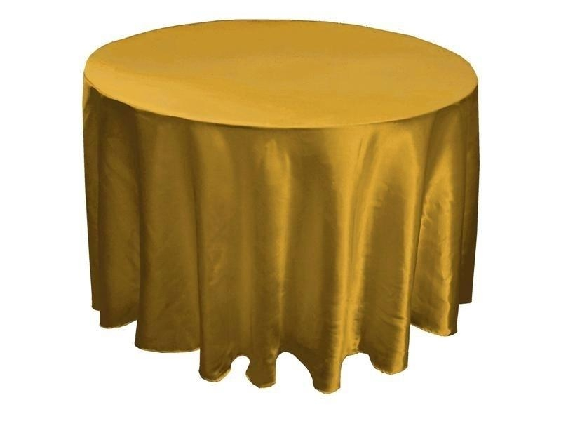 Gold 108 Satin Round Tablecloth