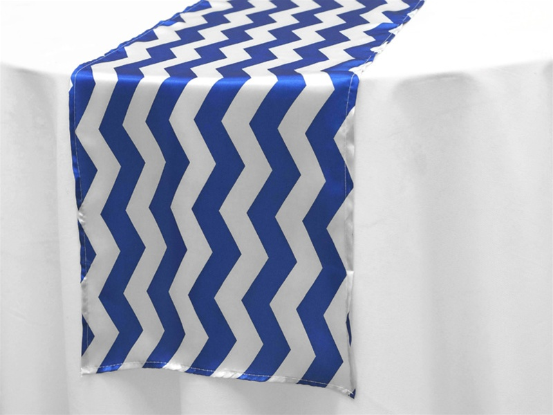 Jazzed Up Chevron Table Runners White Royal Blue Live N Lavish